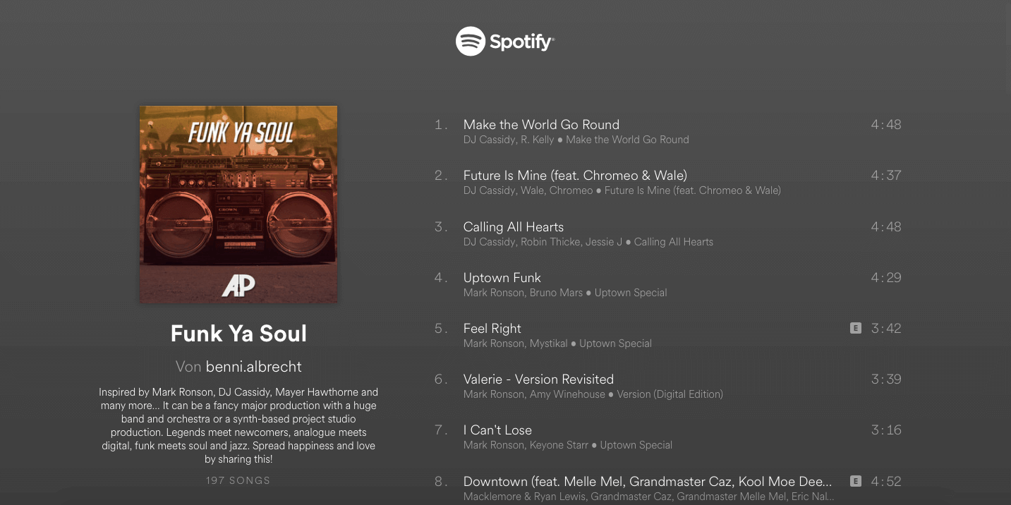 "Spotify Playlist Screenshot ""Funk Ya Soul"""