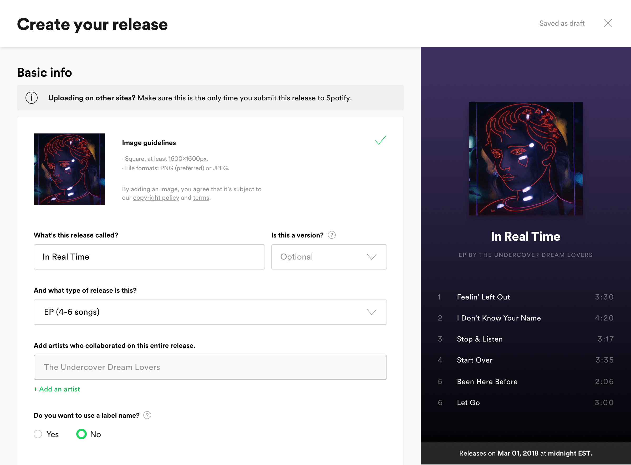 Spotify Release Upload Beta (Source: artists.spotify.com)