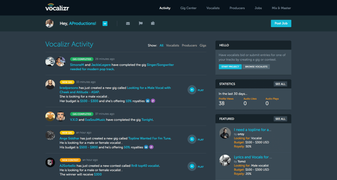 Vocalizr Home Page - Activity